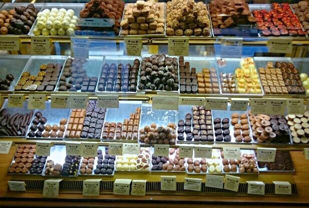 chocolate utopia nottingham handmade  chocolate display